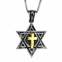 Маген Давид из Серебра с Золотым Крестом
