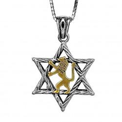 """Медальон """"Маген Давид"""" с Золотым Львом"""