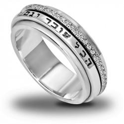 Вращающееся серебряное кольцо Царя Соломона оригинал на иврите