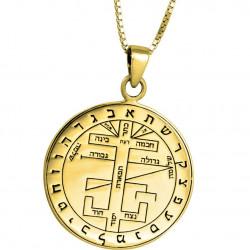 Кулон - Пентакль Большой Ключ Соломона Серебро Позолота
