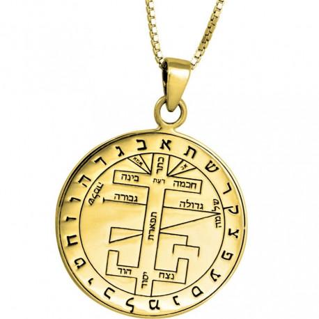 Кулон - Пентакль Большой Ключ Соломона (серебро 925 пр. покрытие золото 24 к.)