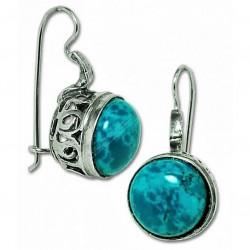 Серебряные серьги с Эйлатским камнем (Хризоколла)