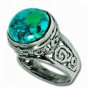 Серебряное кольцо с Эйлатским камнем (Хризоколла)
