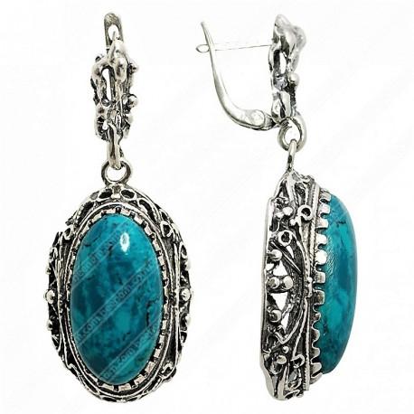 Серебряные серьги с Эйлатским камнем