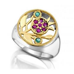 Кольцо - Амулет Гранат (золото 9к. серебро 925 пр. натуральные камни)
