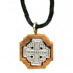 Нательный деревянный крест ручной работы (Иерусалимский)