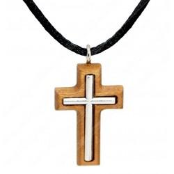 Нательный деревянный крест ручной работы (Католический)