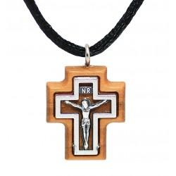 Нательный католический крестик из оливкового дерева