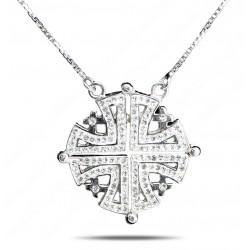 Раскладной Двусторонний кулон Иерусалимский крест (серебро 925 пр.)