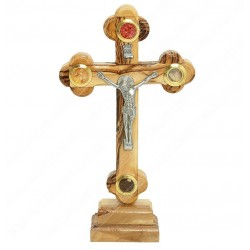 Крест с распятием на подставке из оливкового дерева