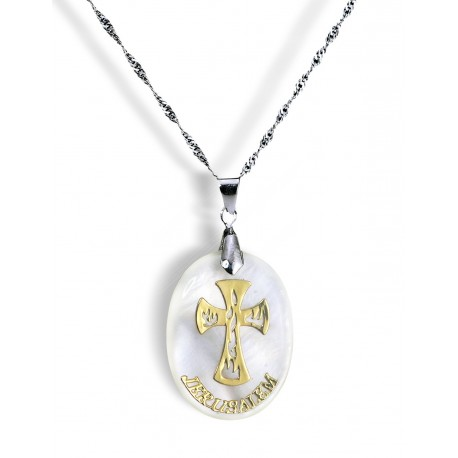 Медальон крест на перламутре