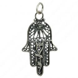 Кулон серебряная Хамса с надписью Шедай