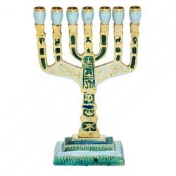 Семисвечник Менора с эмалью Иерусалим