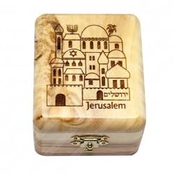 Шкатулка из оливкового дерева с изображением Иерусалима