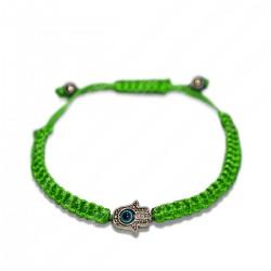 Браслет плетеная зеленая нить с хамсой и глазом Фатимы