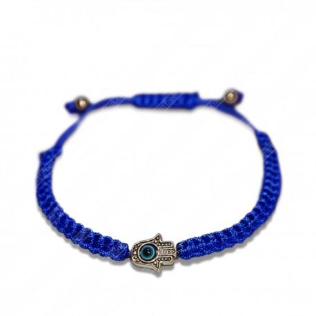Браслет плетеная синяя нить с Хамсой и глазом Фатимы