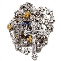 Посеребренные четки в виде крестов с распятием