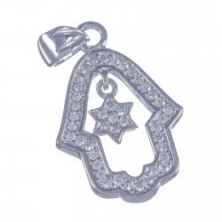 Кулон Хамса со звездой Давида (серебро 925 пр.)
