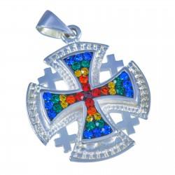Иерусалимский крест с кристаллами (серебро 925 пр.)