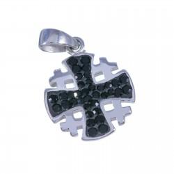 Серебряный Иерусалимский крест с кристаллами Сваровски