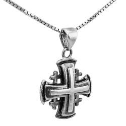 Серебряный Крест Паломника на цепочке. Освящен в Храме