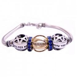 Браслет Каббалы «Молитва Б-гу» (серебро 925 пр. золото 375 пр. сапфиры)