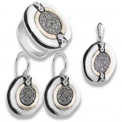 Комплект «Роза Шарона» серебро 925 пр.