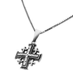 Серебряный крест паломника с цепочкой