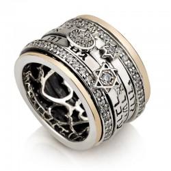 Эксклюзивное кольцо с молитвами Израиля (серебро 925 пр. золото 24 к.)