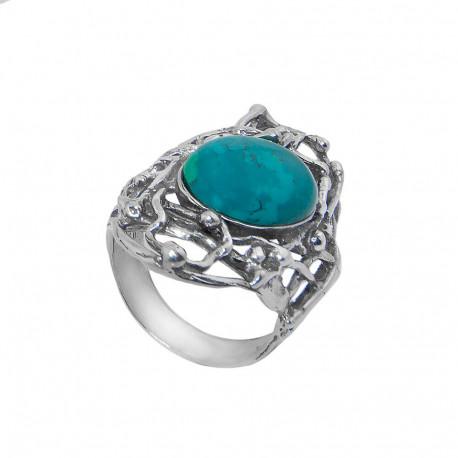 Кольцо из серебра с эйлатским камнем